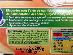 ingrédients des petits pots Blédina