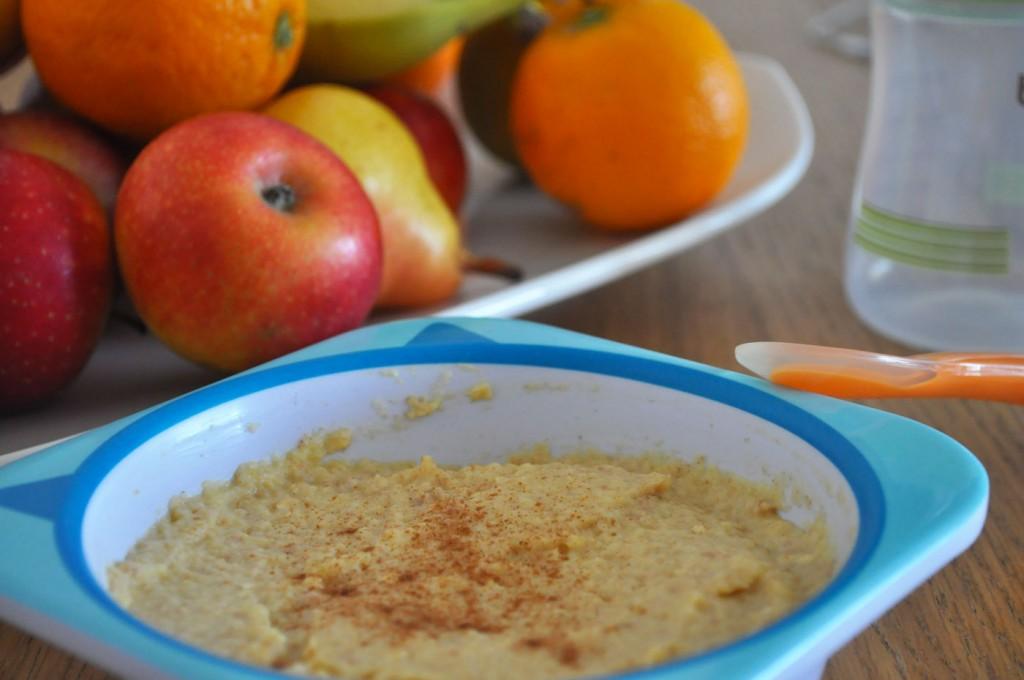 Bouillie bébé fruitée à la compote de pomme orange cannelle