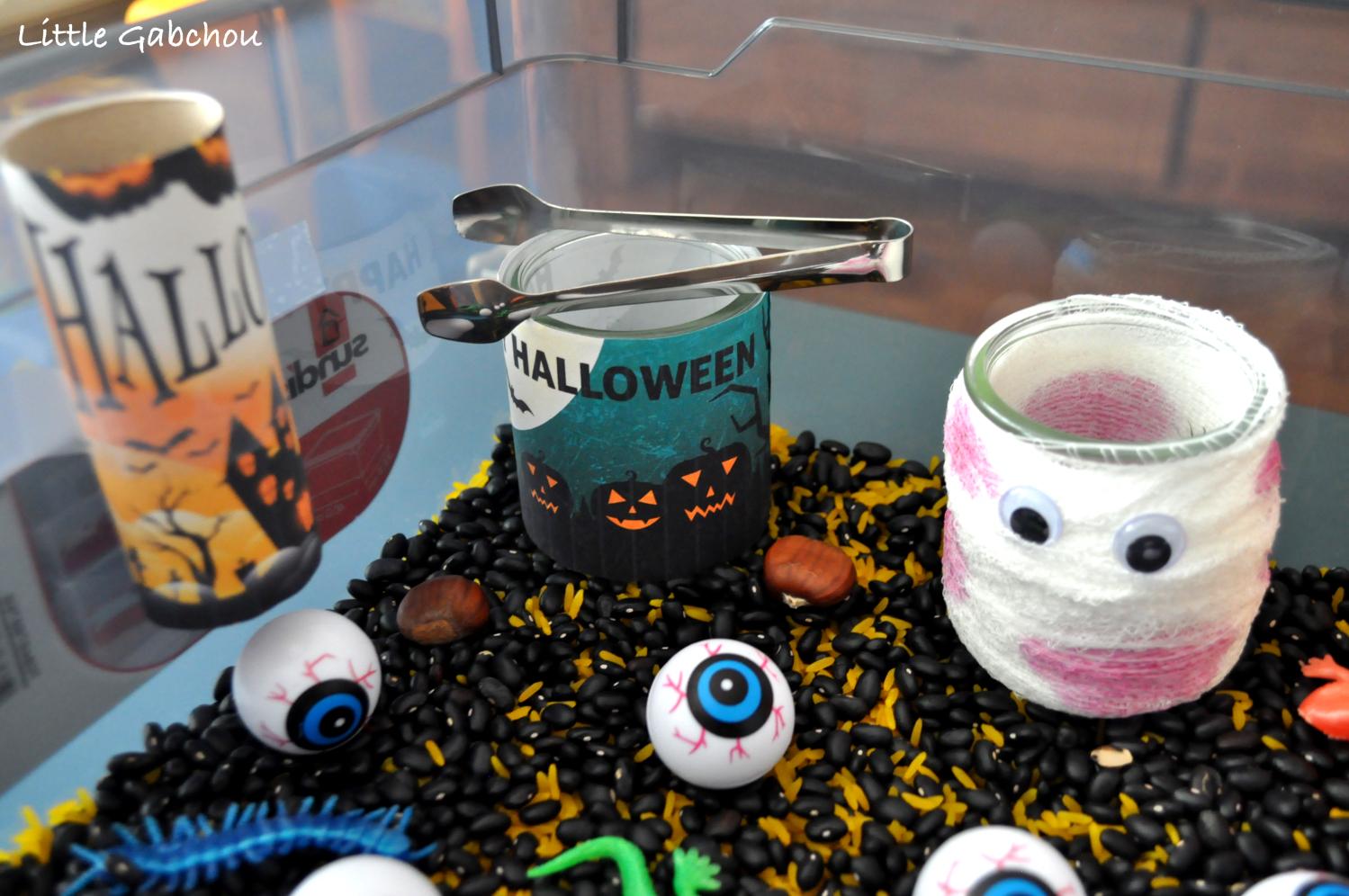 bac sensoriel halloween activité enfants