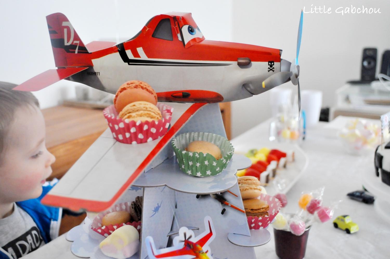 deco anniversaire Planes, présentoir de cupcake