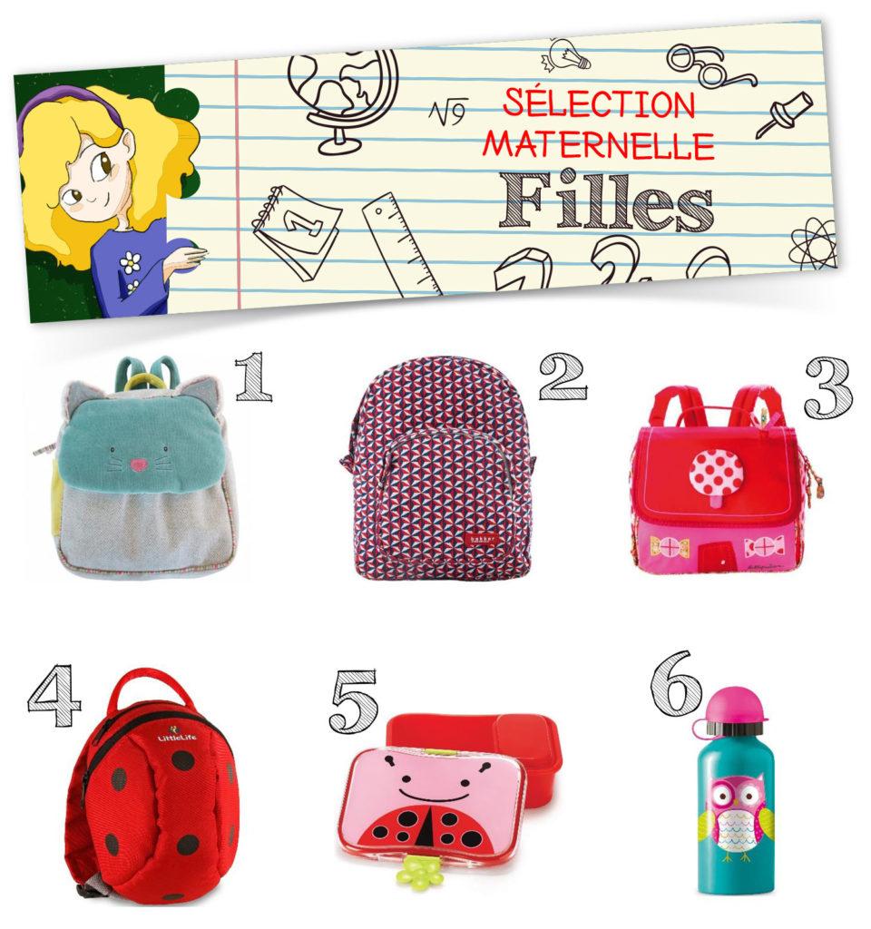 sélection de produits pour rentrée en maternelle filles , sacs cartables lunch box