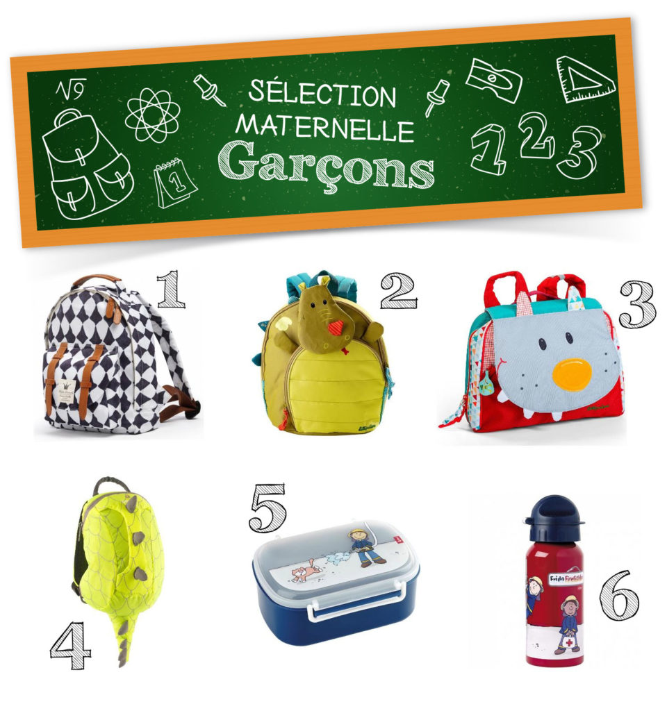 sélection produits pour l'école maternelle sacs cartables lunch box gourde