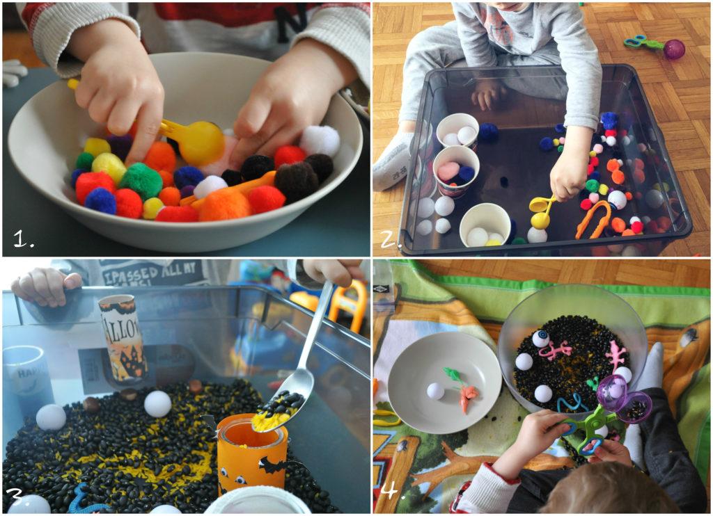 montessori activités à la maison le transvasement et tri