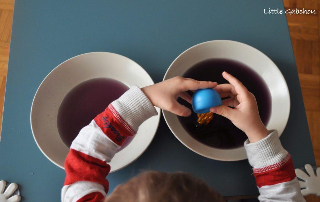 activite montessori transvasement eau pipette
