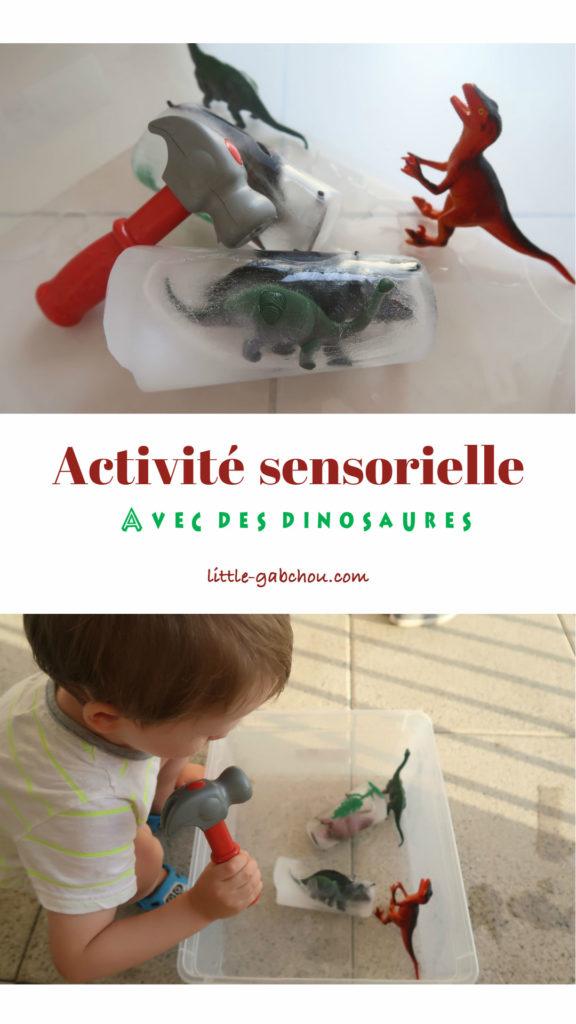 activité sensorielle avec des dinosaures glace