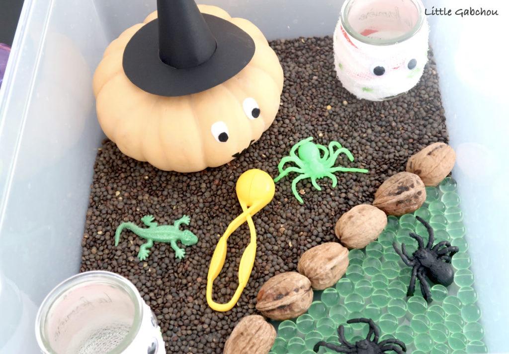 bac-sensoriel-automne et Halloween