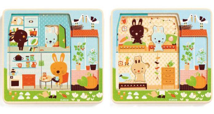 puzzle en bois pour enfant à trois niveaux