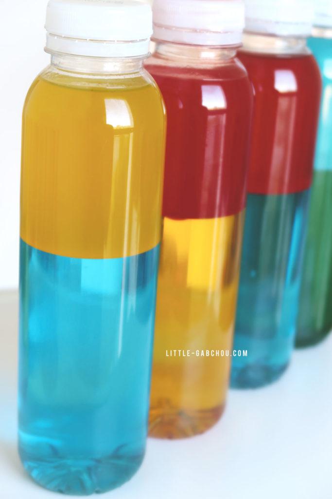 bouteilles sensorielles bicolores à mixer