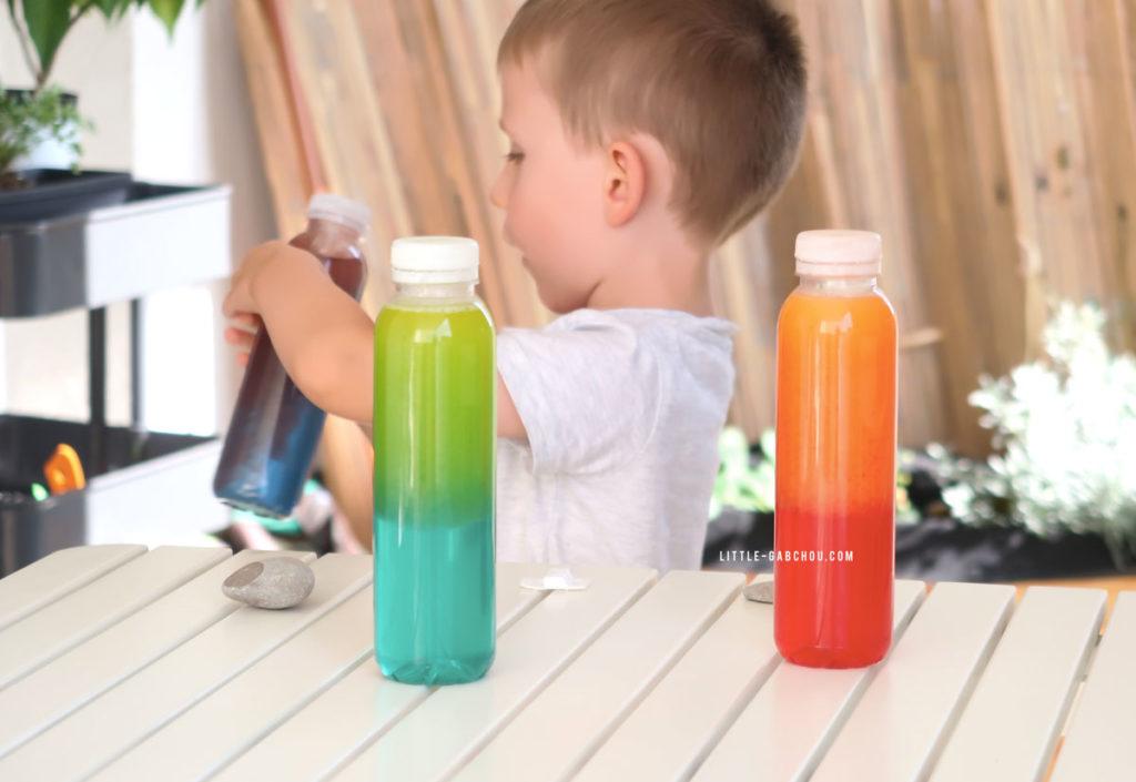 bouteilles sensorielle couleurs à mixer