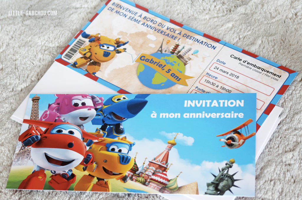 invitation Super Wings billet d'avion