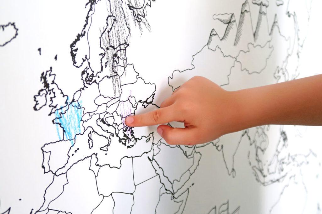 carte du monde activité de coloriage