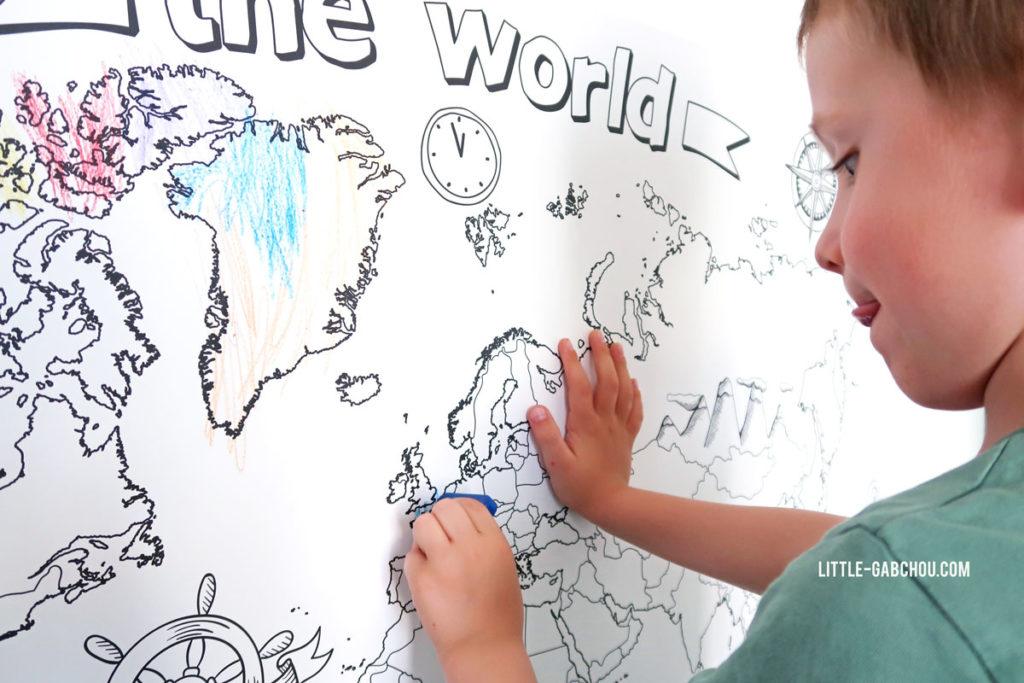 carte du monde à colorier d'Agent Paper