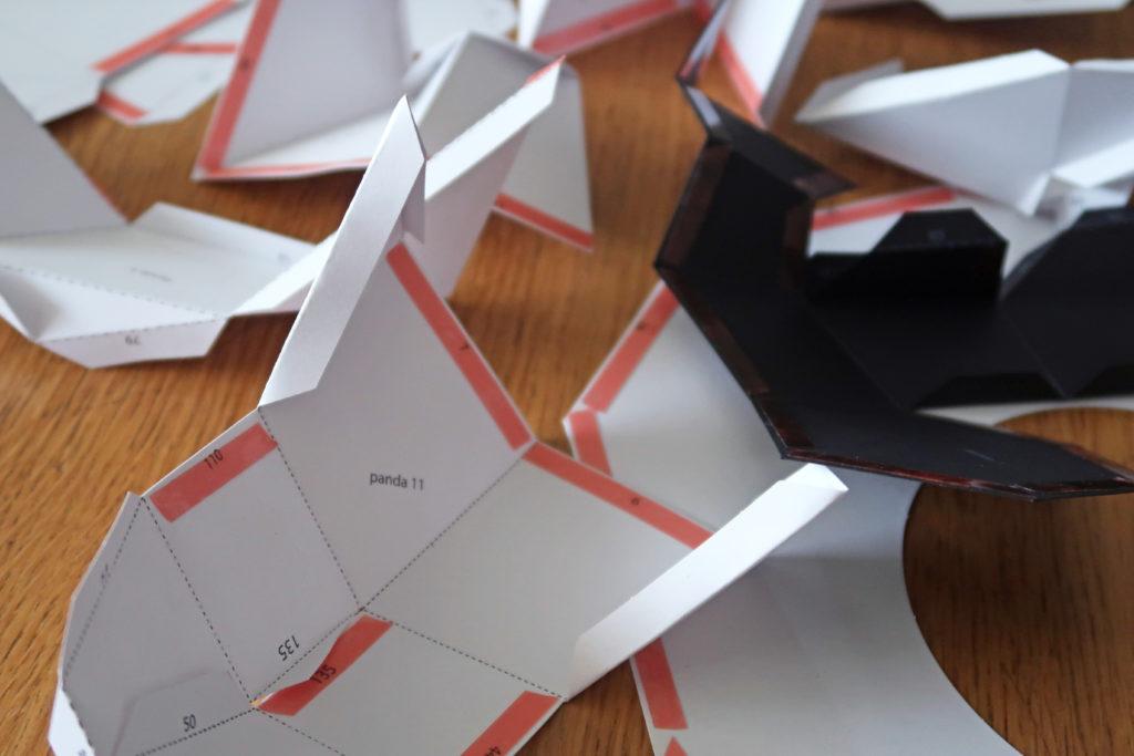 Trophée panda 3D pliage