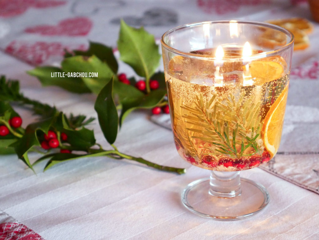Idée cadeau et décoration fait maison la bougie transparente thème hiver