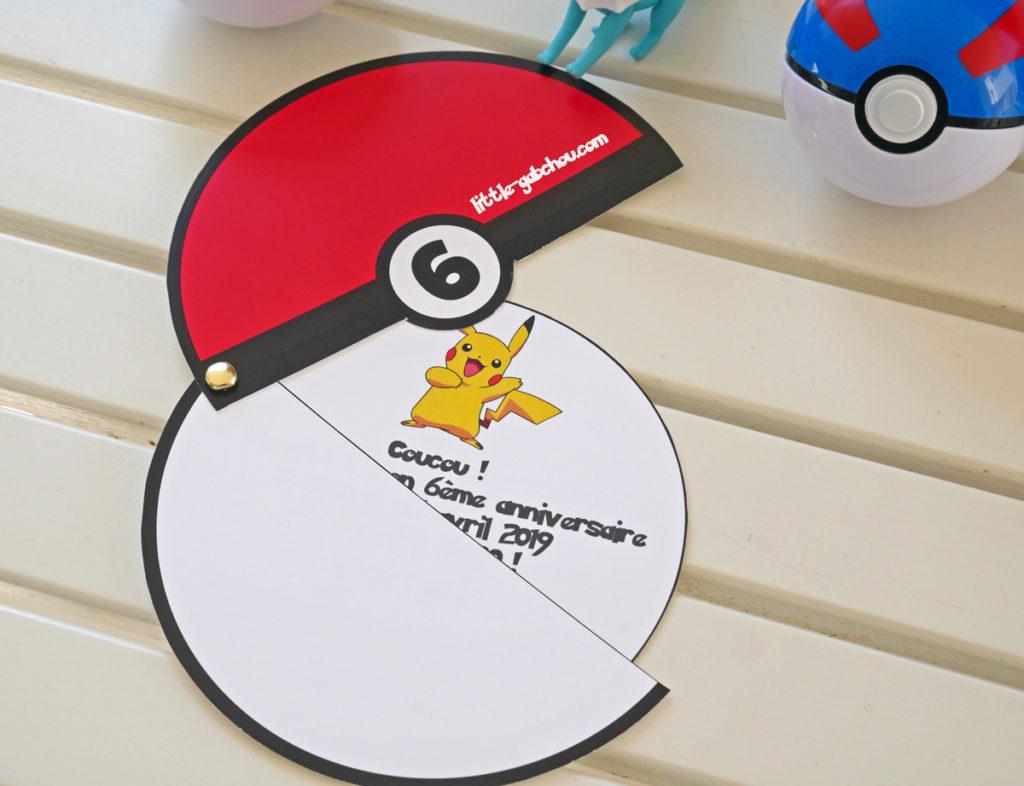 Invitation pour anniversaire Pokémon fait maison
