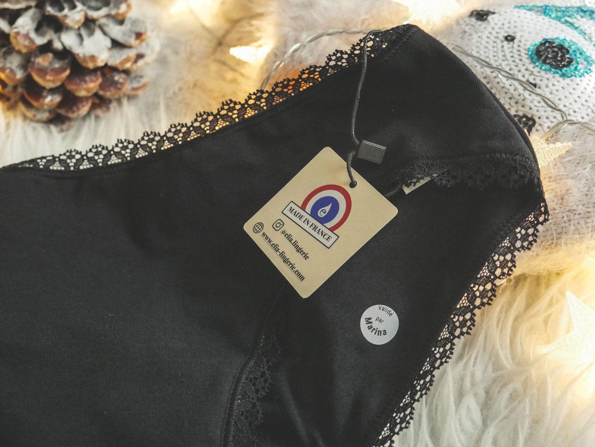 test et avis sur la culotte menstruelle made in france d'Elia Lingerie
