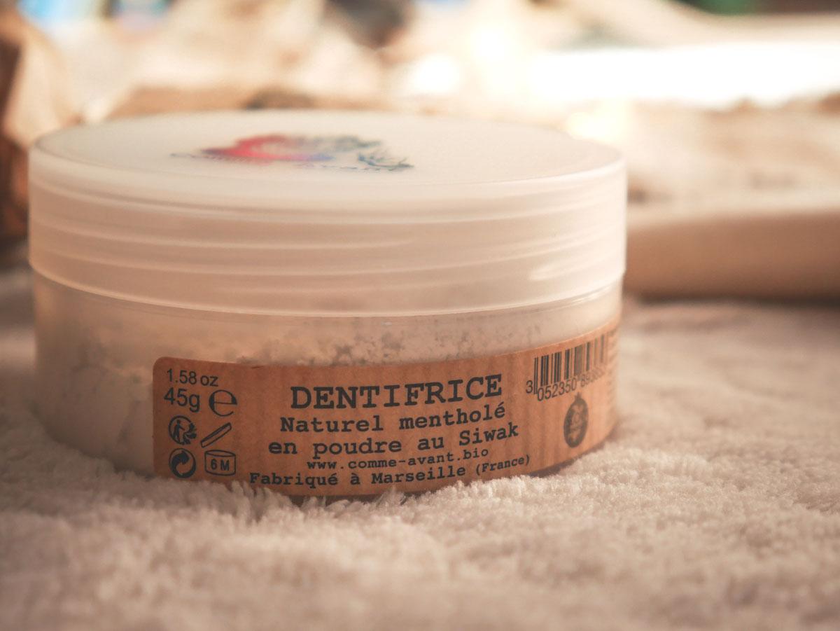 Test et avis dentifrice naturel en poudre Comme Avant