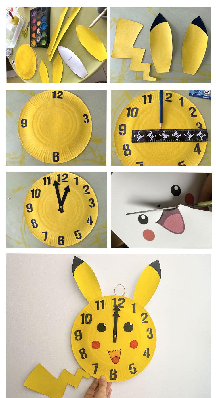Activité DIY à faire avec les enfants pour fabriquer une horloge maison Pikachu et apprendre à lire l'heure