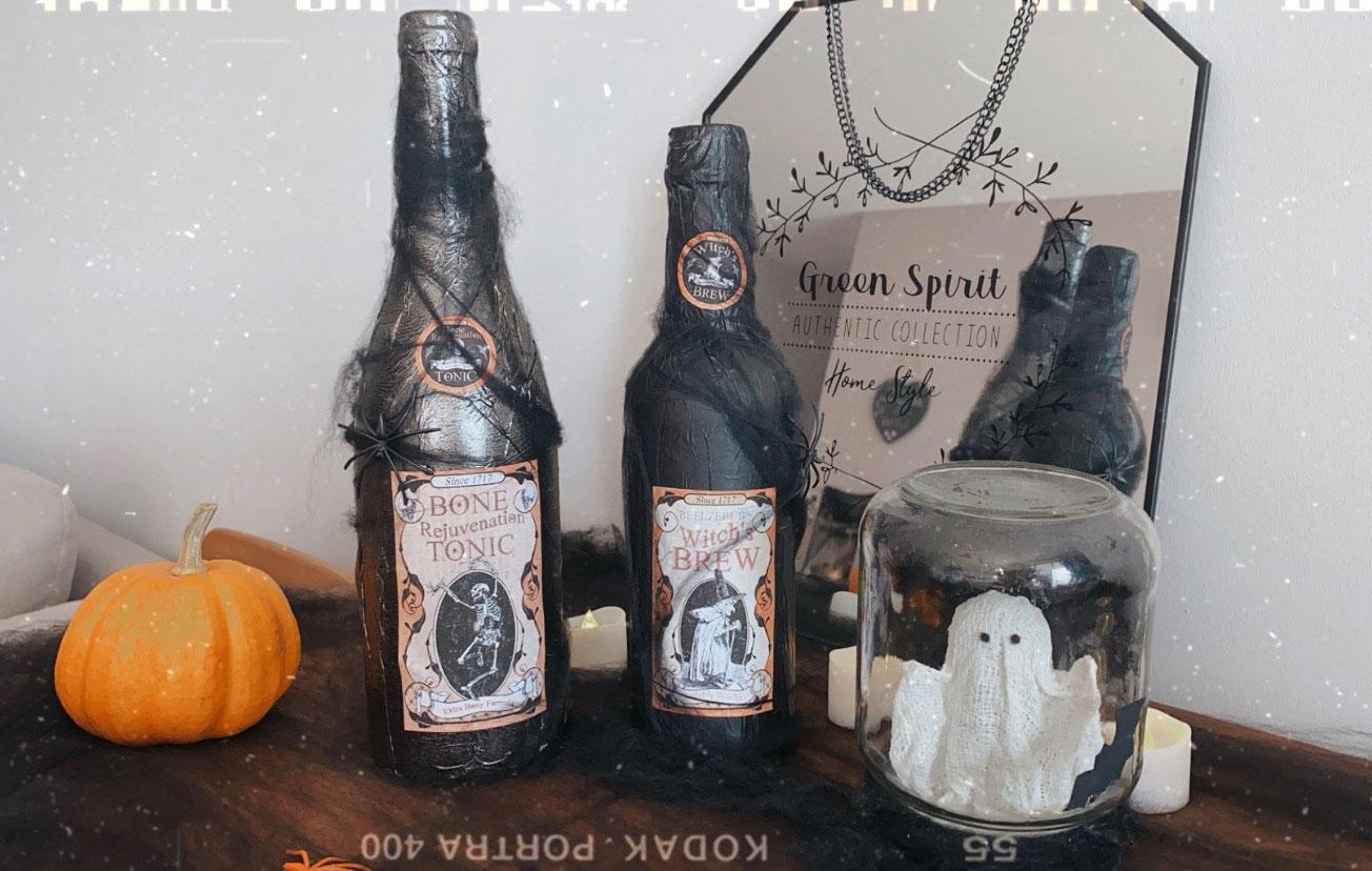 DIY: des bouteilles d'apothicaire ensorcelés pour la décoration maison d'Halloween